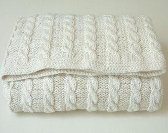 baby blanket KNITTING PATTERNS  - Classic Cable Blanket - PDF Instant Download