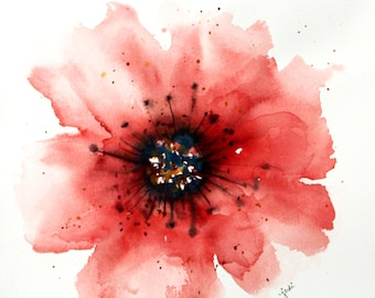 ORIGINAL Watercolor power scarlet abstract flower ,  Floral Painting, Original Art Wall Hanging,   Watercolor Painting