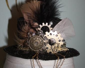 Gold Rush Black Lace Womens Mini Steampunk Hat