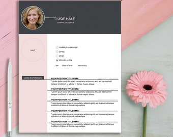 Resume Template 3 pages | CV Template for MS Word | Instant Digital Download | Modern Resume | Lusie Hale