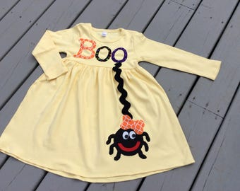 Girls Halloween Dress- Personalized- Itsy Bitsy Spider- Holiday Toddler School Tween Long Sleeve Or Tank Style