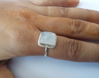 rainbow moonstone ring, Silver Ring, Silver moonstone Ring,92.5% solid sterling Silver Ring, Sterling Silver Ring, size 3-12(USA Standard)