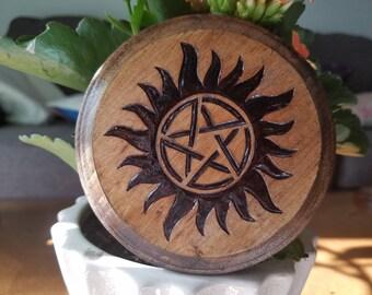 Supernatural Anti-Possession Wood-Burned Coaster
