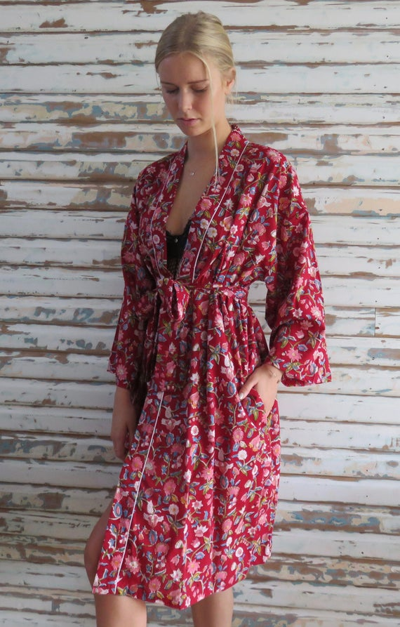 Kiyomi Red Floral 100 Percents Cotton Robe, Kimono, Bridesmaid, Maternity, Loungewear by Etsy