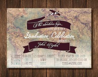 Travel Theme Graduation Party Invitation - Custom Digital Copy