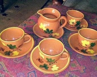 Vintage Terracotta Swiss Chaletware Teacups, Saucers & Creamer