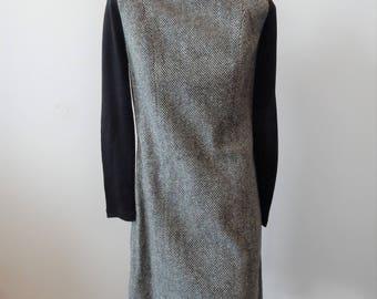 Vintage 1970s Herringbone Wool Jumper Sz XS