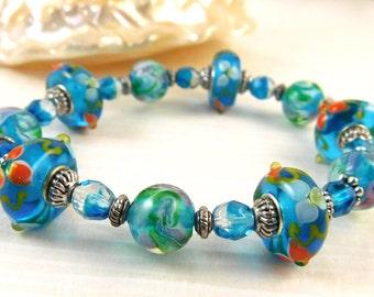 Ocean Blue Stretch Bracelet