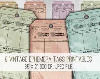 Vintage Ephemera Tags Digital Collage Sheet Download - 1023 - Digital Paper - Instant Download Printables