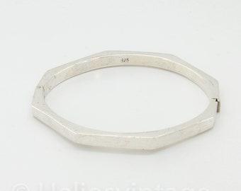 Vintage sterling silver octagon bracelet, octagon bangle, geometric bracelet,  jewellery, stacking bracelet, unique & cool gift for her