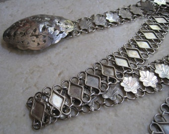 Antique Silver Belt - Borneo Belt - Iban Belt - Link Belt and Buckle from Sarwak - Ethnic Jewelry - Tribal Jewelry