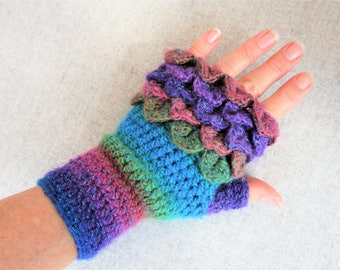 Dragon Scale Gloves, Rainbow Gloves Crochet, Fingerless Mittens, Gloves in 2 Styles, Gift for Her, Gift Idea, Birthday Present