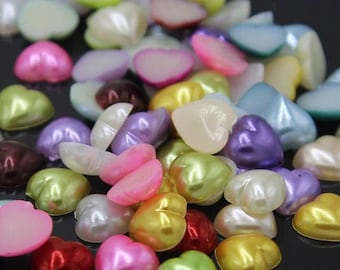 Pearl Heart Flatbacks-Assorted Colors-12mm-40 ea.