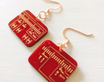 Super Red Hot Upcycled Earrings