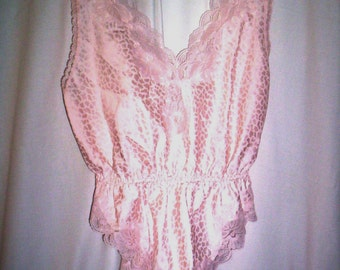Sz PetiteTeddy, New Vintage by Lady  Elaine Pink Polyester, Sleeveless, Low Cut Top, Woman's All-In-One Sleeper, Polyester Teddy, Hi Cut Leg