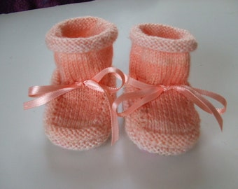 Handknit Baby Booties and Why I Made Them  - Peaches