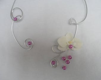 An orchid - silver ornate necklace purple and white