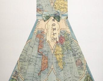"WORLD Mountains Map Dress - CUSTOM Hand-Folded Map Dress - 24"" x 36"" - Choose your Style! - Nursery Wall Decor Art"