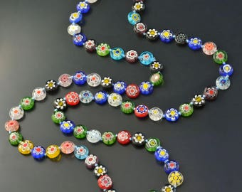 Millefiori Glass Knotted Beads Necklace, Rainbow Necklace, Millefiori Jewelry, Long Colorful Necklace, Beaded Strand Necklace N1475