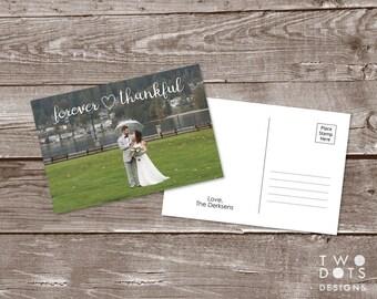 Custom 4x6 Printable Wedding Thank You Postcard - Forever Thankful, Personalized Wedding Postcard, Photo Postcard, Wedding, Postcard