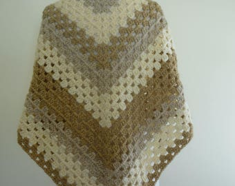 Crochet Shawl Triangular Shawl in Granny Square Pattern Beige Tones- Warm Wrap- Crochet Wrap- Ready to Ship - Direct Checkout - Gift for Her