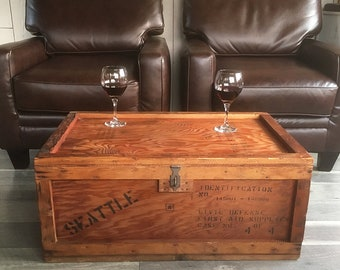 Cold War Era, Seattle, Civil Defense First Aid Crate, Unique Wood Coffee Table Crate, Box