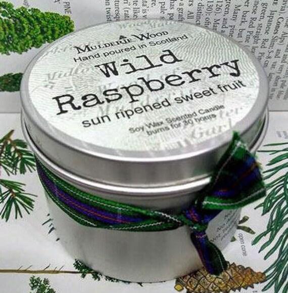 Handmade Scottish Wild Raspberry Scented Soy Wax Tin Candle 30+ hour burn