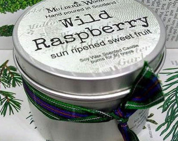 Featured listing image: Handmade Scottish Wild Raspberry Scented Soy Wax Tin Candle 30+ hour burn