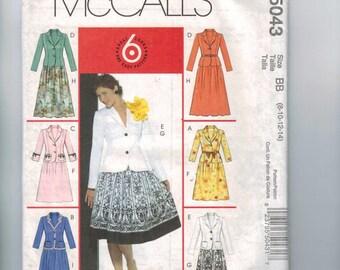 Misses Sewing Pattern McCalls M5043 5043 Misses Two Piece Dress Skirt Fitted Jacket Suit Size 8 10 12 14 UNCUT