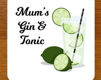 Gin & Tonic Drinks Coaster - can be fully personalised