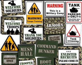 Army Party Signs, Military Birthday Party Printables, Army Party Printables, Military Signs, Troops Training Printables INSTANT DOWNLOAD AS1