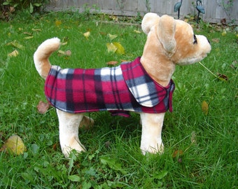 Dog Jacket - Gray and Wine Fleece Plaid Dog Coat- XX Small- 8 to 10 Inch Back Length - Or Custom Size