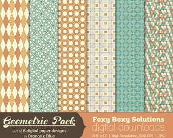 Geometric Patterns Digital Paper Pack: Set of 6 Digital Papers in Orange & Blue, Triangles, Octagons, Squares, Circles, Diamonds
