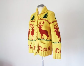 Vtg 60s Yellow COWHICAN Hunting Button Cardigan! Small
