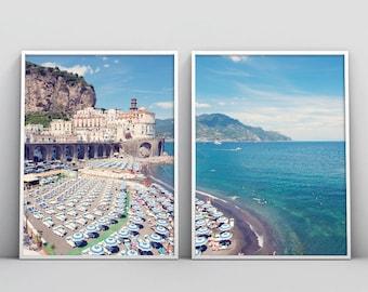 Amalfi coast print, Amalfi photography, Amalfi coast art,set of 2 prints,Beach Diptych print,Diptych art,coast print,coast art,Italy print