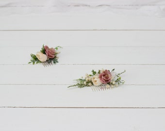 Ivory beige baby's breath floral comb Hair flowers Bridal headpiece Wedding flowers Floral accessories Bridesmaid comb Outdoor Gypsophila