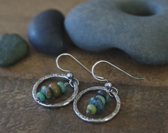 Arizona turquoise hoops - Hand forged fine Silver dangles with Turquoise gemstones - Boho earrings - Circles