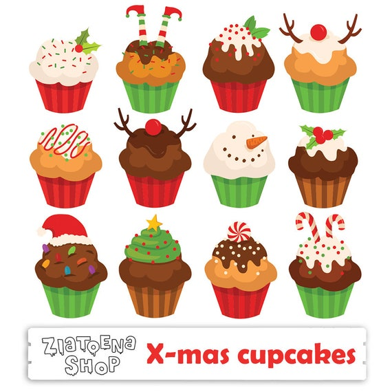 Items similar to Christmas Cupcake Clipart Muffins clipart ...