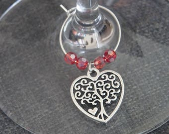 Wine Charms - Heart with Tree of Life