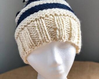 Handmade Knitted Pom Pom Hat