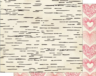 Heart String SCRAPBOOK PAPER / 4 Sheets /  Valentine / Wedding / Anniversary / Wood Bark / My Minds Eye / My Story  - 12 x 12 Double Sided