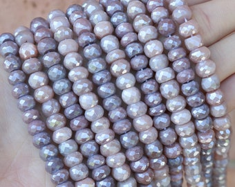 moonsotne, 8mm rondelle, hand cut beads, gemstone beads, sold as 34'' strand, angel aura moonstone, ab moonstone, mystic moonstone,