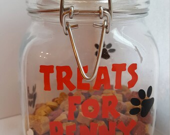 Personalised Pet Treat Jar UK Gift Airtight Durable Glass Clip Top Lid Dog Cat