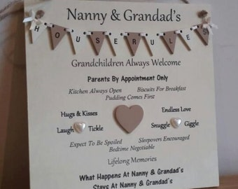 Grandparents House Rules Plaque, grandparents gift
