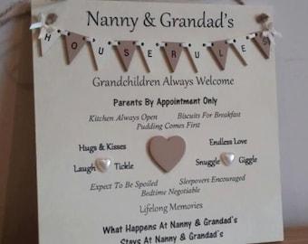 Grandparents House Rules Plaque, grandparents gift