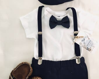 Boys navy blue suspenders bow tie and shorts or pants birthday wedding outfit set colour coordinated sizes 000- 2T