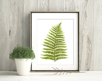 Fern Watercolor Art Print, Woodland Fern Poster, Green Fern Painting, Fern Forest Decor, Botanical Wall Art, Nature Leaves Print W60