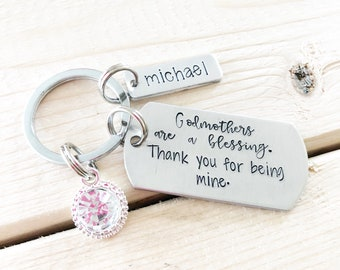 Godmother - Gift for Godmother - Hand stamped keychain - Custom jewelry - Hand stamped jewelry - Fairy Godmother -  Special Godmother