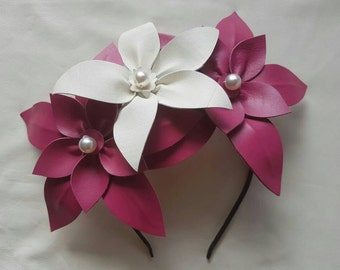 Hot pink and white genuine leather flower headpiece / fascinator, ideal for races or wedding