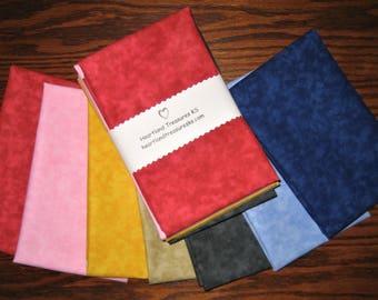 7 ~ Marbleized Print Cotton Fabric Fat Quarter Bundle
